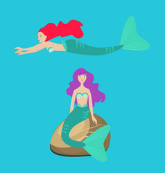 two mermaids or sirens in the ocean flat vector image