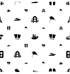 vacation icons pattern seamless white background vector image