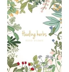 Vintage card medicinal organic healing herbs vector