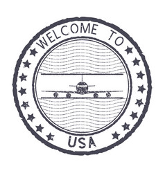 Welcome to usa gray round stamp with aircraft vector