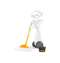 wheeled robot assistant washing floor with a mop vector image