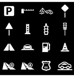 white road icon set vector image