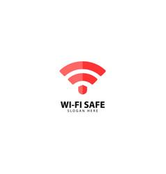 Wifi safe internet connection logo design vector