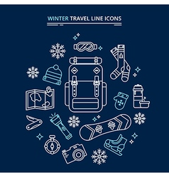 Winter Travel Icons Kit vector image