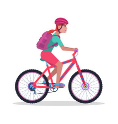 woman on a mountain bicycle vector image