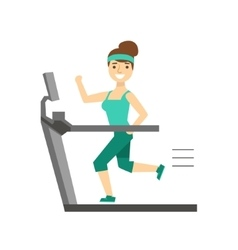 Woman Running On Treadmill Member Of The Fitness vector image