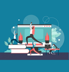 Yoga in office flat style design vector