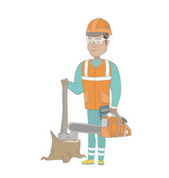 Young hispanic lumberjack with chainsaw vector