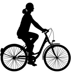 Young woman riding bicycle silhouette vector