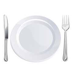empty plate and knife and fork cutlery vector image