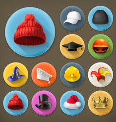 Hats long shadow icon set vector image vector image