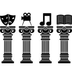 pedestals of arts stencils vector image vector image