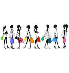 set of silhouettes of girls women with shopping vector image vector image
