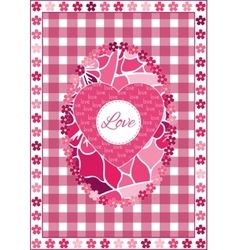 Valentines Day background with hearts and flowers vector image vector image