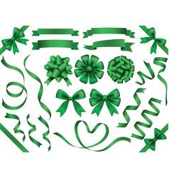 a set of green ribbons vector image