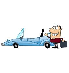 Businessman Waving Next To Convertible Car vector image