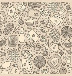 cartoon hand-drawn casino games seamless pattern vector image vector image