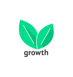 growth logo with green leafs vector image vector image