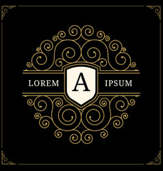luxury logo in vintage style vector image vector image
