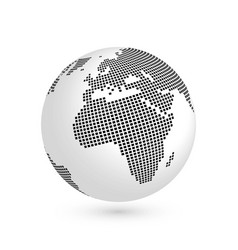 planet earth globe with black squared map of vector image vector image
