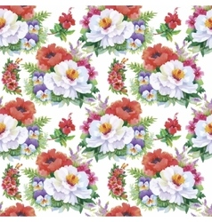 Seamless patterns with Beautiful flowers vector image