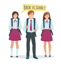 students boy and girl in school uniform vector image vector image
