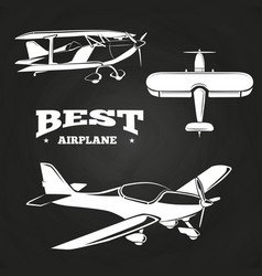 white airplanes collection on chalkboard design vector image vector image