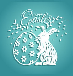 bunny and egg for easter day greeting card vector image