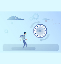 business man with clock time management concept vector image