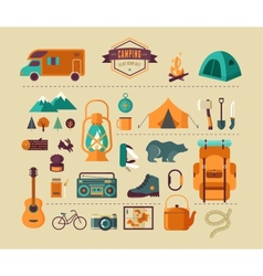Hiking and camping equipment - icon set and vector image vector image