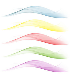set of wavesblueyellowredgreen background vector image