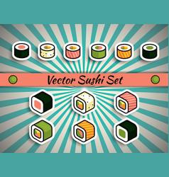rolls sushi set vector image