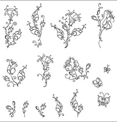 Set of vintage flowers and butterflies vector image