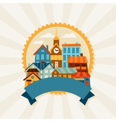Town background design with cute colorful houses vector image vector image