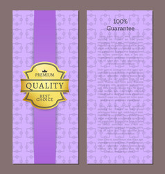 100 guarantee premium quality best choice poster vector image