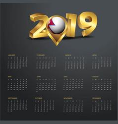 2019 calendar template nepal country map golden vector