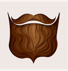 3d paper cut hipster beard with mustache design vector image