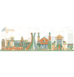 Abstract algiers skyline with color buildings vector