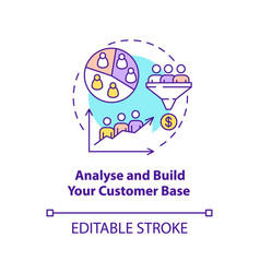 Analyse and build customer base concept icon vector