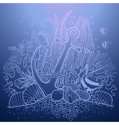 Anchor and coral reef vector
