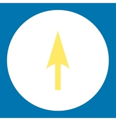 Arrow Axis Y flat yellow and white colors round vector image