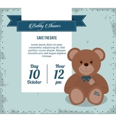 Baby Shower design teddy bear icon Blue vector