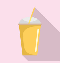 banana smoothie icon flat style vector image