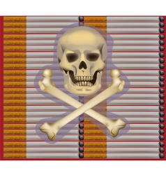 Banner no Smoking cigarette skull on cigarettes vector image