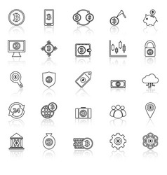 Bitcoin line icons with reflect on white vector
