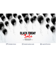 Black friday sale backgrond air balloons and text vector