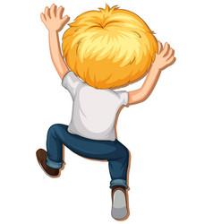 Blonde hair boy climbing vector