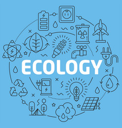 Blue line flat circle ecology vector