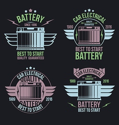 Car battery shop emblems vector
