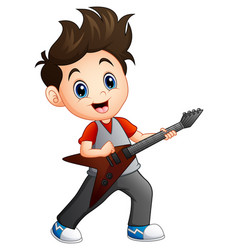 Cartoon boy playing electric guitar vector